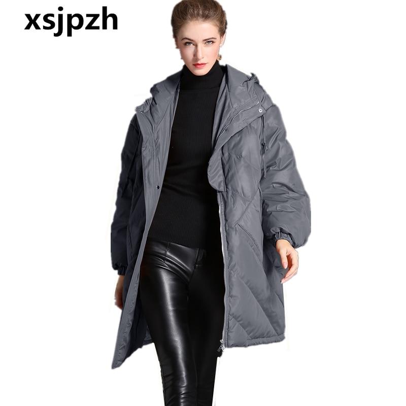 Nouvelles Solide Vers gray Grande D'hiver Épaississent Caramel À Lâche Veste Manteau Survêtement Capuchon 2018 Le Chaud Cz293 Mode Femmes Bas Taille Long vFwxtd