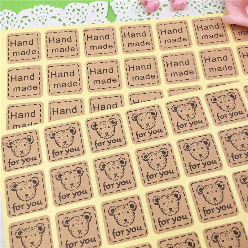 100 ชิ้น/ล็อต 2.5*2.5 ซม. ทำด้วยมือสำหรับ Hot กระดาษคราฟท์ Vintage Vintage สติกเกอร์มือของ Scarpbook สติกเกอร์