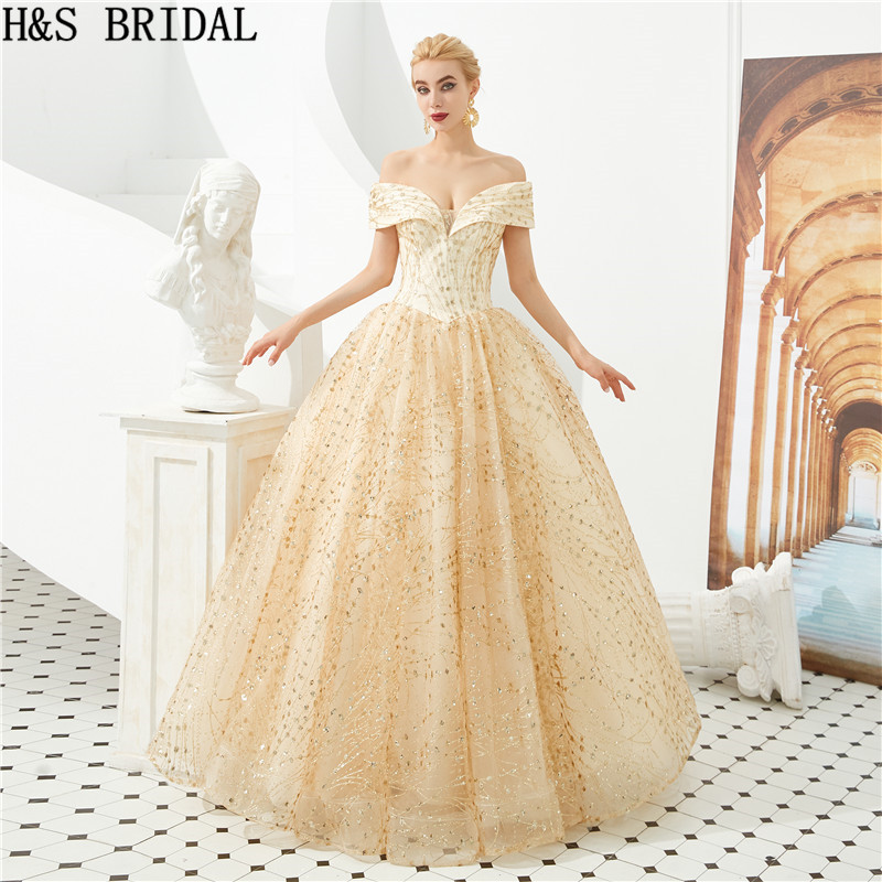 H&S BRIDAL Off Shoulder Lace   Prom     Dresses   Luxurious Ball Gown   Prom     Dress   Gold   prom   party   dresses   abiti da cerimonia da sera