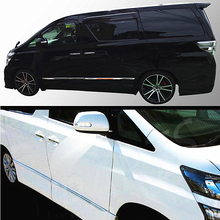 цена на JY 4PCS SUS304 Stainless Steel Door Side Molding Trim Garnish Cover Car Styling Sticker Accessories For TOYOTA ALPHARD 20