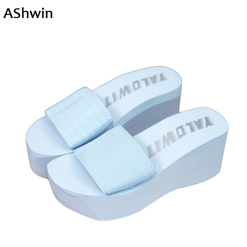 AShwin summer women slip on sandals casual slippers sole mules clogs wedge platform DIY slippers soles quality beach slippers7.5 summer women mules clogs wedge sandals garden shoes handmade artifical pearl slippers jelly color casual original beach sandals