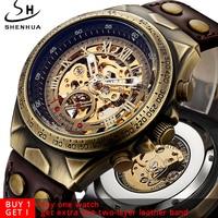 Steampunk Bronze Automatic Watch Men Mechanical Watches Vintage Retro Leather Transparent Skeleton Watch Clock Man Dropshipping