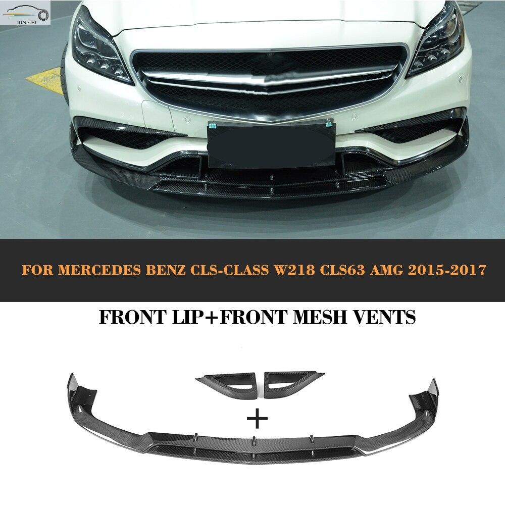 CLS Classe En Fiber De Carbone Avant Lip Spoiler Mesh Vents pour Mercedes Benz W218 CLS63 AMG S Berline 4 Porte Seulement 2015 2016 2017