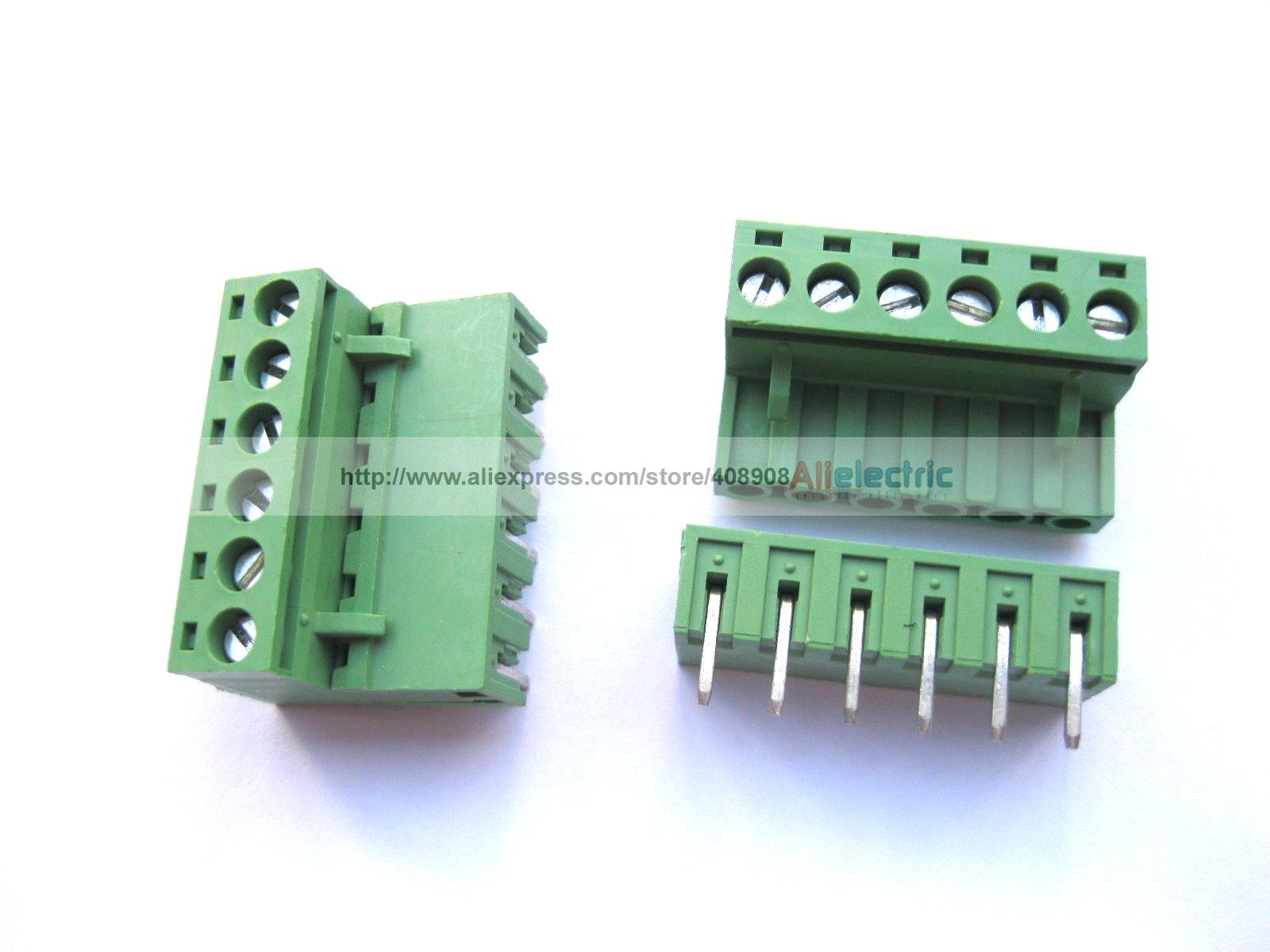 50 Pcs 5.08mm Angle 6 Pin Screw Terminal Block Connector Pluggable Type Green 30 pcs 5 08mm angle 16 pin screw terminal block connector pluggable type green