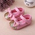Zapatos de Los nuevos Niños Zapatos PU Zapatos de cuero Del Otoño Del Resorte del Bebé Shinning Zapatos Nudo de La Mariposa