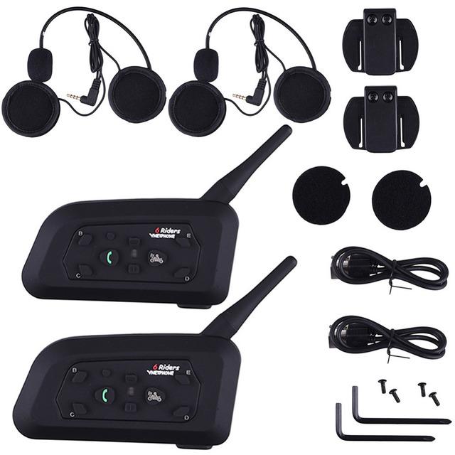 1200 M de La Motocicleta Del Intercomunicador Del Casco de Bluetooth Receptor de Música 6 Jinetes BT Interphone Del intercomunicador Inalámbrico Auriculares MP3 enchufe de LA UE