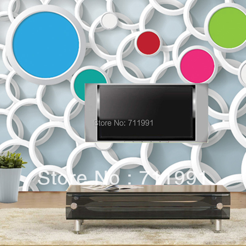 Buy custom 3d wallpaper color circle 3d for 3d wallpaper for living room modern india