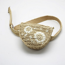 Fashion Woven Straw Bag Manual Rattan Embroidered Waist Pack Chest Womens Shopping Coin Purse Belt Bags