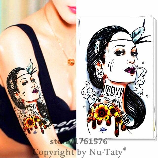 M-Theory Temporary Tattoos Tattoo Body Art, Maya Female Warrior , Flash Tatoos Sticker 20x12cm Swimsuit Dress Makeup