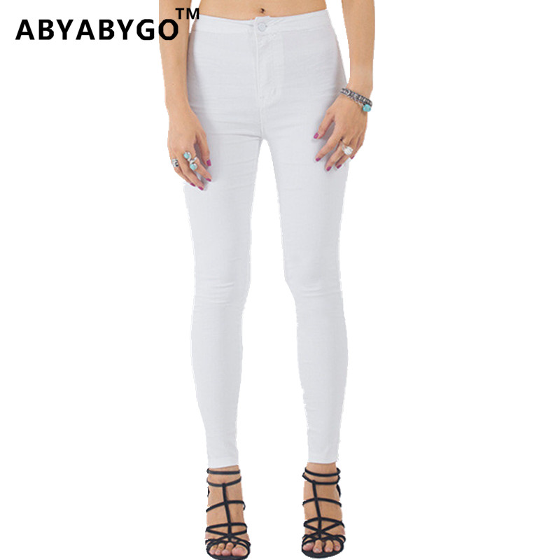 ABYABYGO 2017 Brand Womens High Waist Jeans Boyfriend White Denim Elastic Slim Pants Plus Size Tight Female Cowboy Pants Femme
