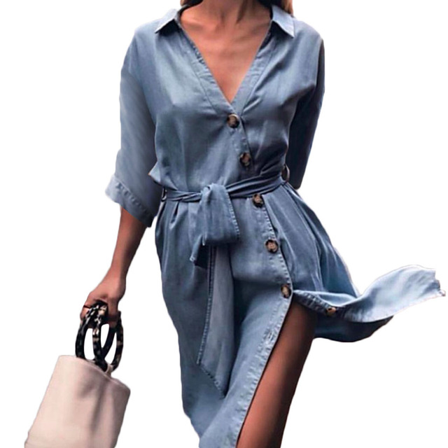 ccc40defc8a Women Deep V Neck Midi Dress Half Sleeve Front Button Down Split Dress 2018  Ladies Summer Dress with Sashes Party Vestidos