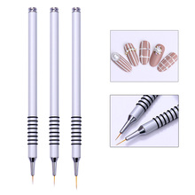 UV Gel Liner Drawing Brush Flower Painting 7mm/9mm/11mm Acrylic Pen Silver Handle Manicure Nail Art Tool