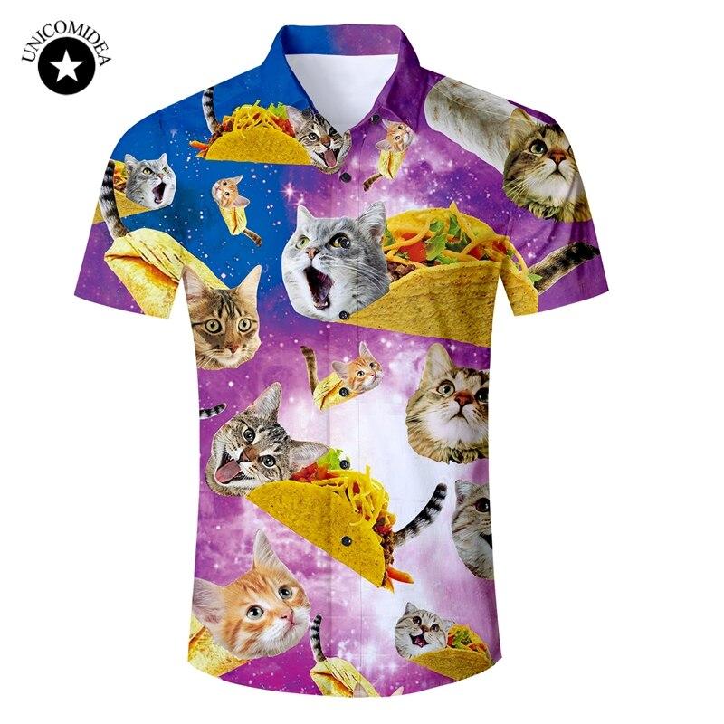 b7f0b5f21 Eur tamaño para hombre camisa Galaxy espacio gato gatito 3d impresión  camisa hawaiana hombre Slim Fit camisas de manga corta 2019 ropa de verano  ...