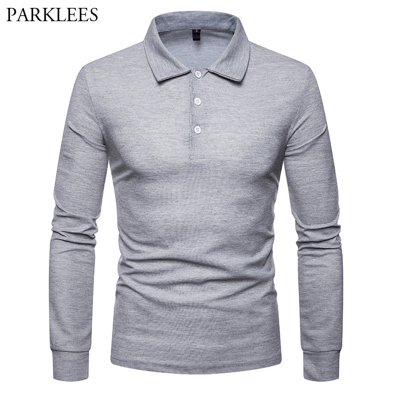 Fashion Solid Color   Polo   Shirt Men Long Sleeve Turn-down Collar Mens Breathable   Polo   Shirts Casual Slim Fit   Polos   Homme Camisa