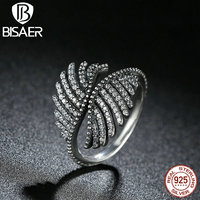 VOROCO 925 Sterling Silver PHOENIX FEATHER SILVER RING WITH CLEAR CUBIC Ring Compatible With Pan Women