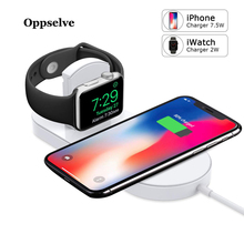 Oppselve 2 in 1 Wireless Charger For iPhone Xs Max Xr X 8 Apple Watch 3 2 Charger For Samsung S9 S8 Fast Wireless Charging Pad