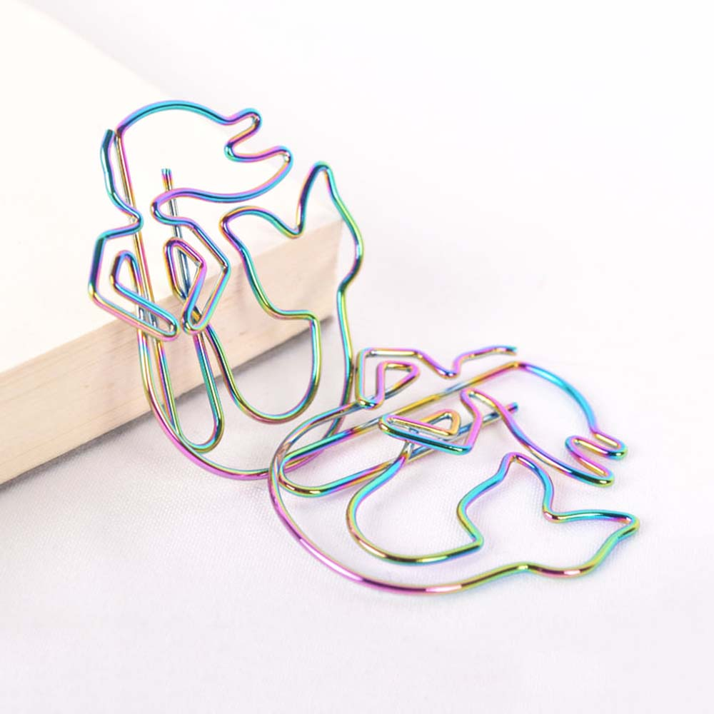 8Pcs/lot Colorful Rainbow Mermaid Paperclips Electroplating Metal Paper Clips Photo Clip Paper Clips Decorative Stationary