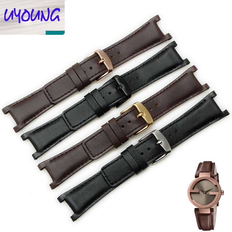 c9eb350a86b UYOUNG 2019 New genuine Leather watchband substitute YA133205 YA133206 series  watch with 20mm x 12MM Black Brown strap for men-in Watchbands from Watches  on ...