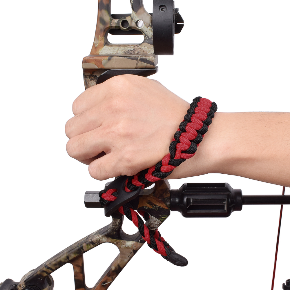 Wrist Bow Sling Braided Durable Nylon Cord Rope For Bow Archery Hunting Black