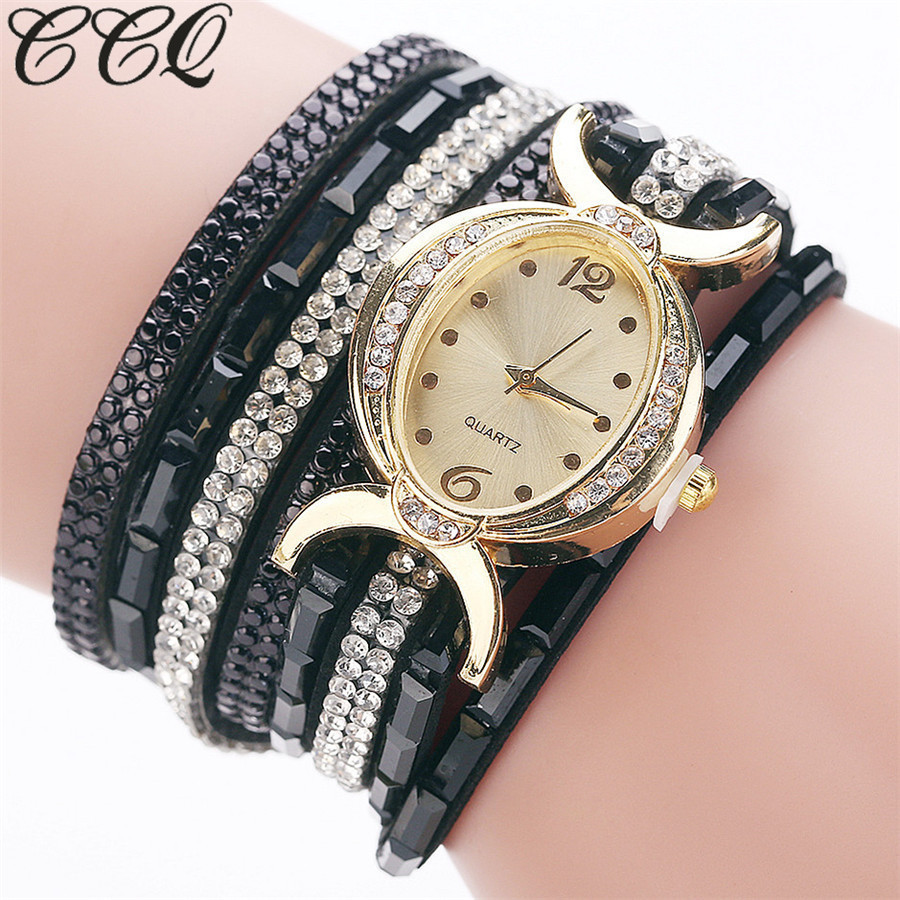 New CCQ Brand Fashion Women Watches Gold Crystal Oval Dial Dress Bracelet Watch Casual Square Diamond Luxury Ladies Watch Clock natural brand new gold ceramic watches shell white dial water resistant rose crystal ladies bracelet watch fw830v free gift box