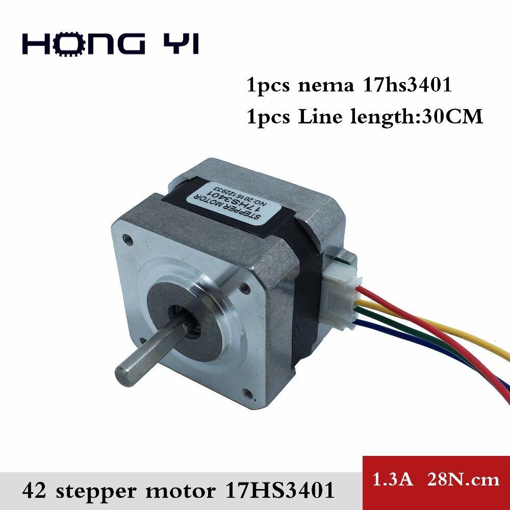 Envío libre 17hs3401 4-plomo NEMA 17 Motores paso a paso 42 Motores 42 bygh 1.3a CE Rosh ISO CNC láser y 3D impresora