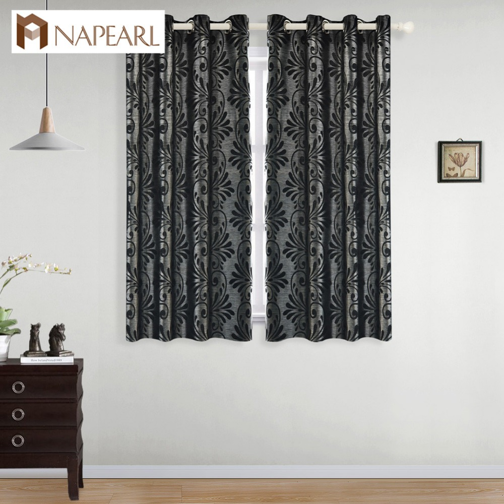 NAPEARL Short Rustic Decorative Curtains Window Treatments For Kitchen Jacquard Semi-blackout Curtains Manufactured Yarn Drapes
