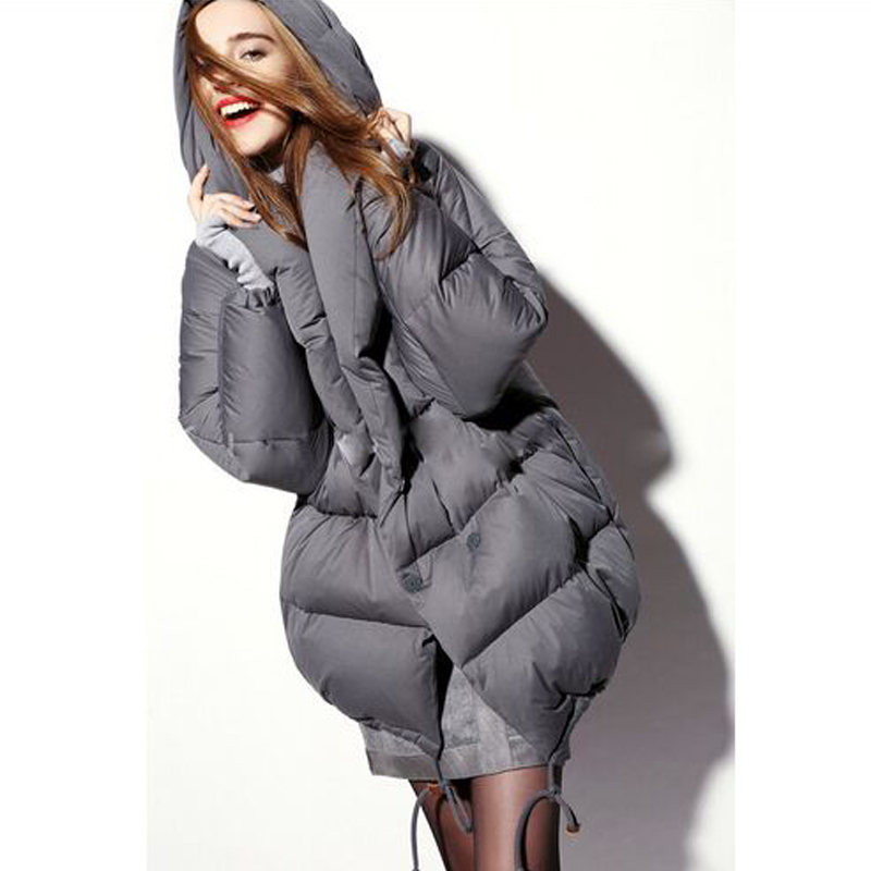 2018 Women Winter Jacket Thickening white duck Down Parka Coat Hooded Double Breasted Long Warm Outwear