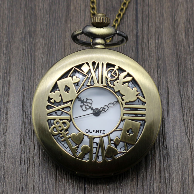 High Quality Retro Hollow Bronze Alice In Wonder Time Theme Pocket Rabbit Key Quartz Fob Design Necklace Watch Gift
