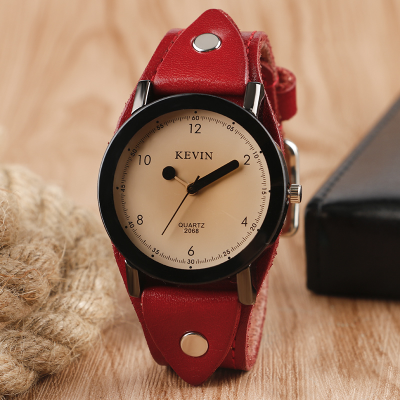 New Arrival Creative Matches Pointer Wristwatch Red Leather Steampunk Band Strap Fashion Wrist Watch For Men Women