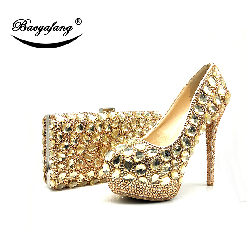 Champagne crystal women Wedding shoes with matching bags Luxury Rhinestone high  heels platform shoes women party dress shoes 6e1d79060628