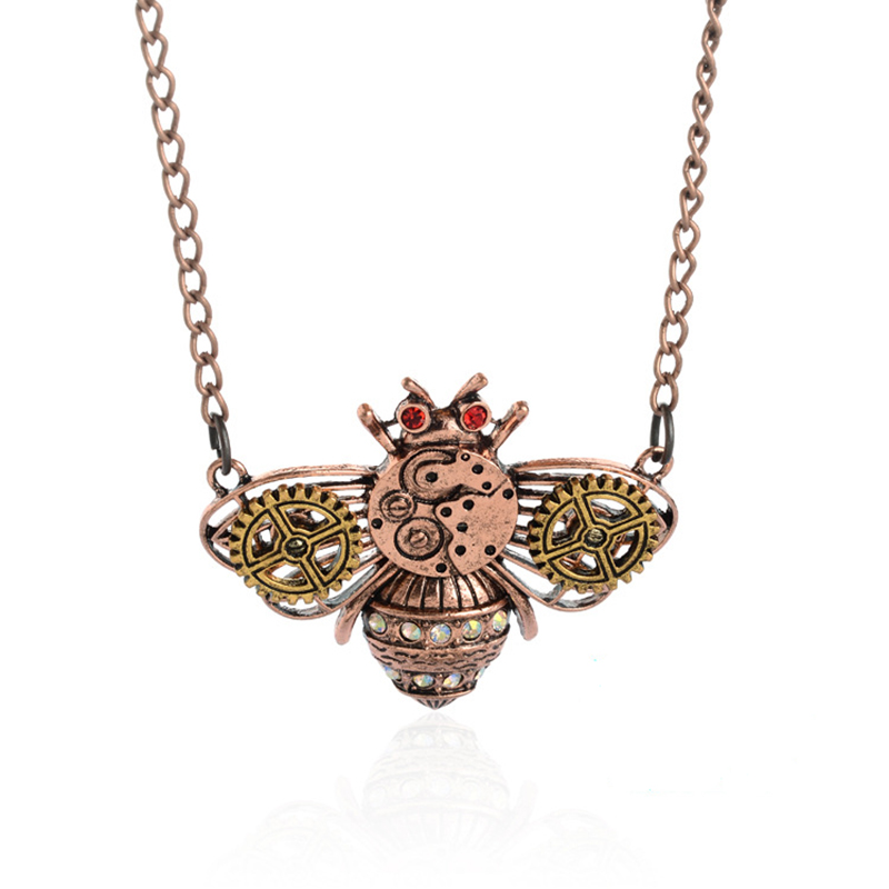 ISINYEE Fashion Crystal Key Heart Anker Hanger Beaded Chain Steampunk - Mode-sieraden - Foto 4