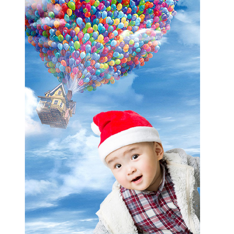 Children Background Blue Sky White Clouds Birthday Photo Backdrops Color Balloon House Background for Photographic Studio