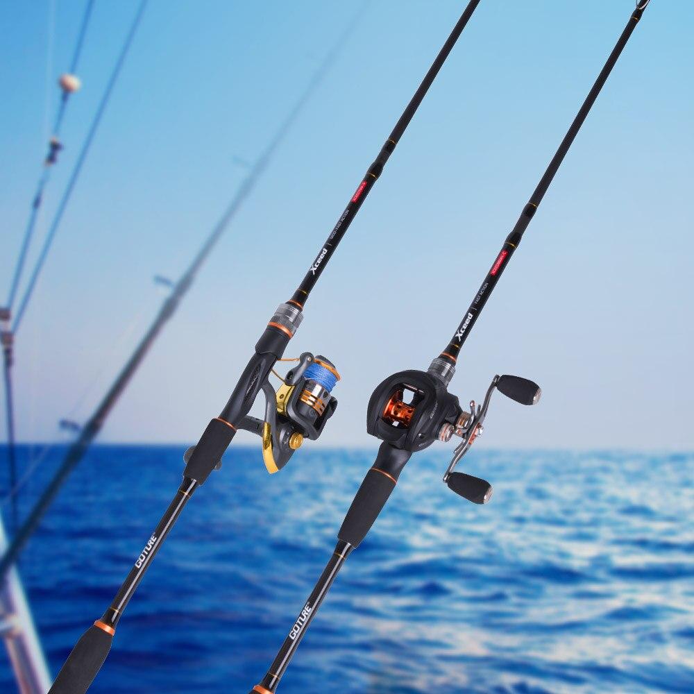 Goture Xceed Spinning Baitcasting cannes à pêche en Fiber de carbone MH/H puissance 1.98/2.1 M 4-Section Portable canne de voyage leurre tige + tige sac - 2
