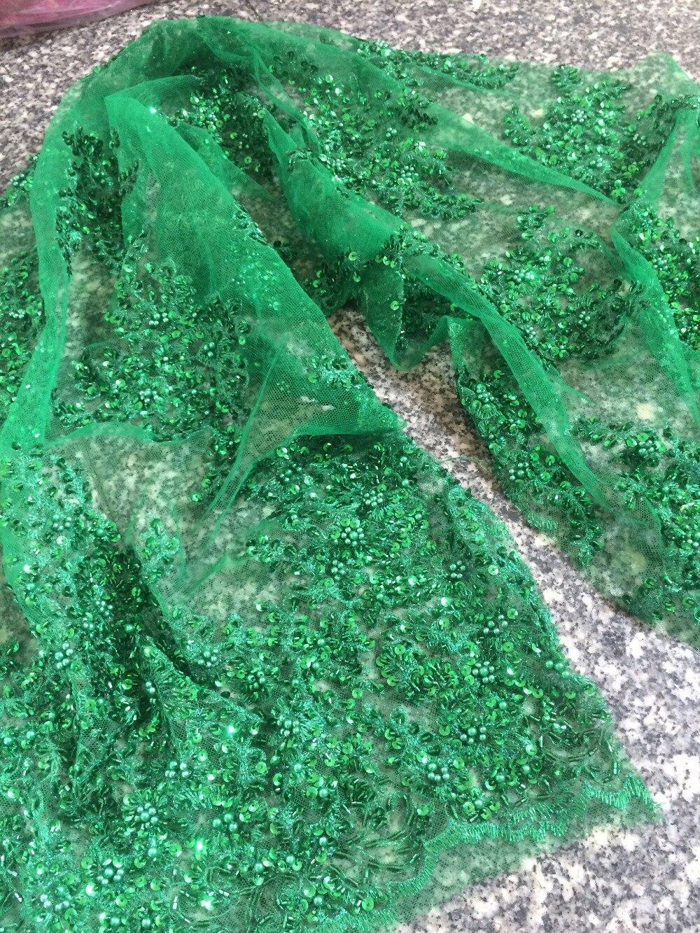 Tissu de dentelle africaine de luxe Z-han32126 avec perles de verre joli français Guipure tulle dentelle tissu de haute qualité - 4