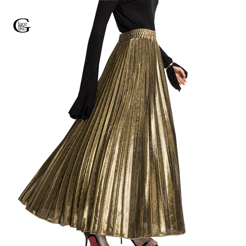 Lace Girl 2017 Winter Pleated Long Skirts For Women Fashion Gold Silver Vintage Metallic Maxi ...