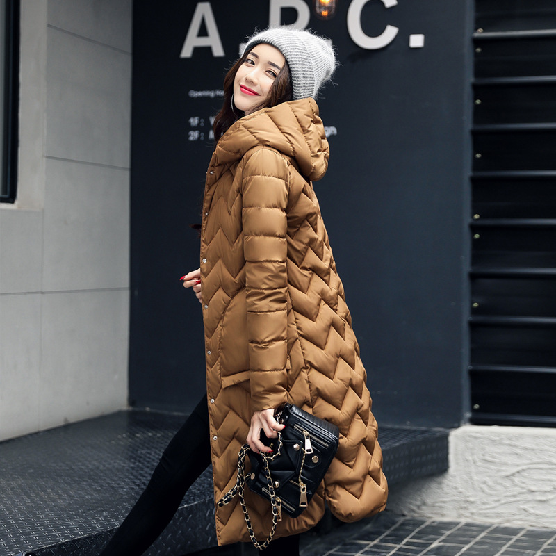 Winter Jaqueta Feminine Women's Light Down Parkas Long Jacket Women Slim Solid Color Long Coat Plus Size Woman Clothes Harajuku