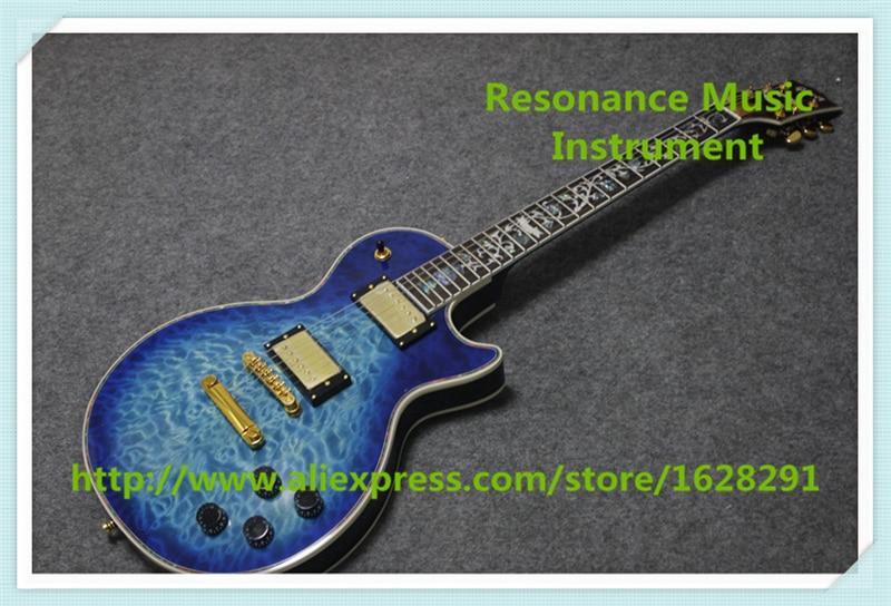 цена на Hot Selling Blue Quilted Finish Custom Shop LP Guitars Electric China OEM Custom Guitars For Sale