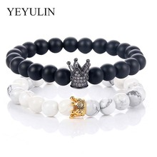 1 Pair Couple Crystal Gold Alloy Copper Rhinestone Crown Bracelet Natural Stone Beaded Women Men Fashion Jewelry Gift