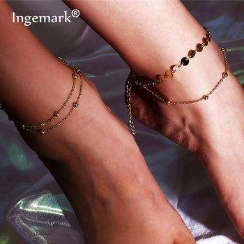 Ingemark 2018 New Multilayer Chain Anklet Bracelets for Women Copper Sequins Leg Ankle Barefoot Sandals Summer Foot Jewelry
