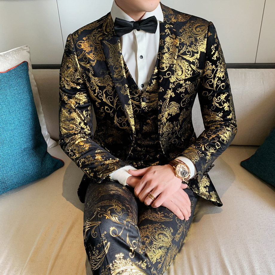 Bronzing Design Mens Floral Suits 2019 Luxury Black And Gold Wedding Suit For Men Club Party Prom Costume 3 Pieces Homme Q657