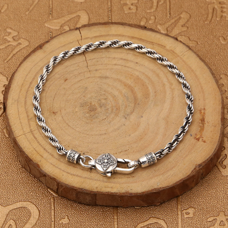 Real 925 Sterling Silver Braided Rope Chain Bracelets Tibetan Buddhism Mantra Six Words And Vajra Engraved Prayer Jewelry