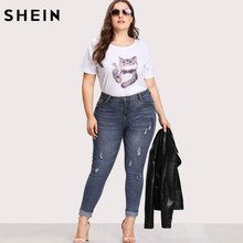 SHEIN Casual Plus Size Jeans High Waist Women Pocket Back Ripped Pants Slim Denim Trousers For Woman Spring Skinny Jeans
