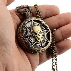 Винтажные бронзовые, в стиле стимпанк кварцевые карманные часы полые Carribean пиратский череп головы ужас с цепочкой для мужчин женщин кулон