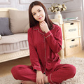 Estilo simples das mulheres pijamas de manga longa tops e calças compridas de pijama florais terno noite sleepwear ternos das mulheres