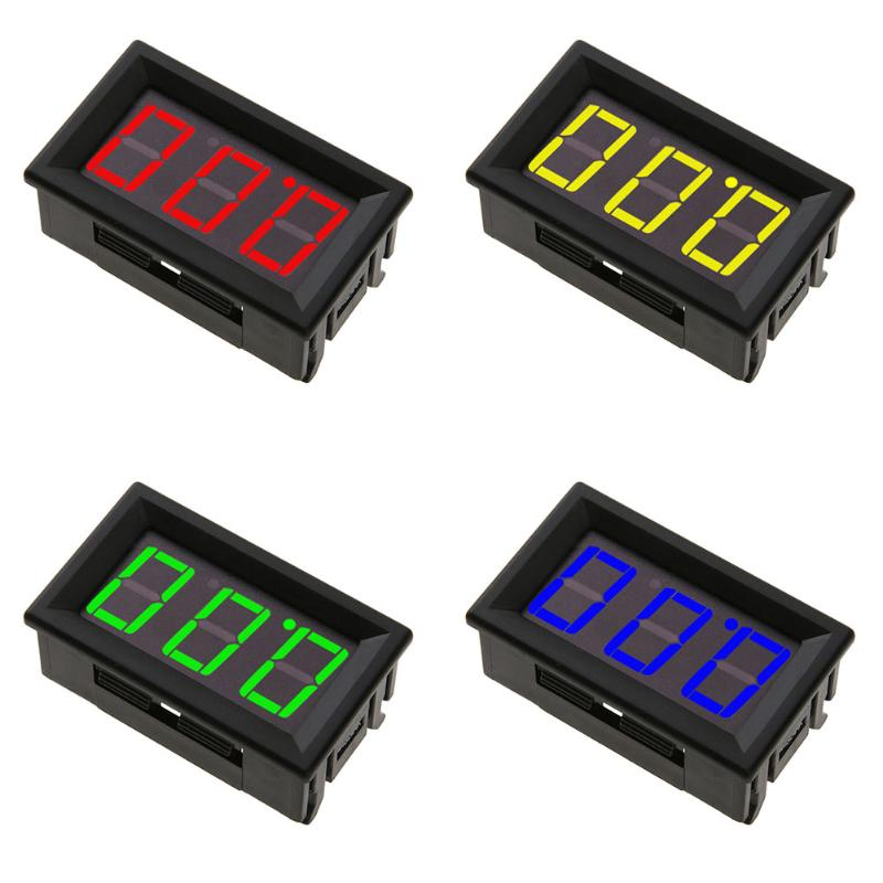 0.56inch Mini Digital Voltmeter DC0-100V Panel Amp Volt Voltage Meter Tester With 3 Wires Red Yellow Blue Green LED Display mini digital voltmeter ammeter dc 100v 30a voltmeter current meter tester vat1030 led display 274833