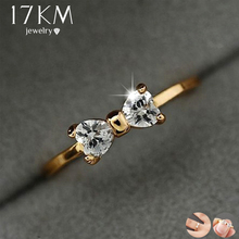 17KM Fashion Austria Crystal Rings Gold Color Finger Bow Ring Wedding Engagement Cubic Zirconia Rings For Women Wholesale New