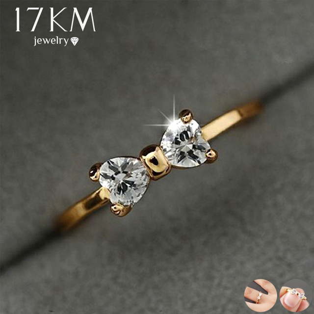 17KM Fashion Austria Crystal Rings Gold Color Finger Bow Ring Wedding Engagement
