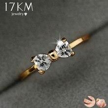 938aafca13aa 17 KM de moda de cristal de Austria anillos de Color oro dedo arco anillo  de compromiso de boda anillos de Zirconia cúbica para .