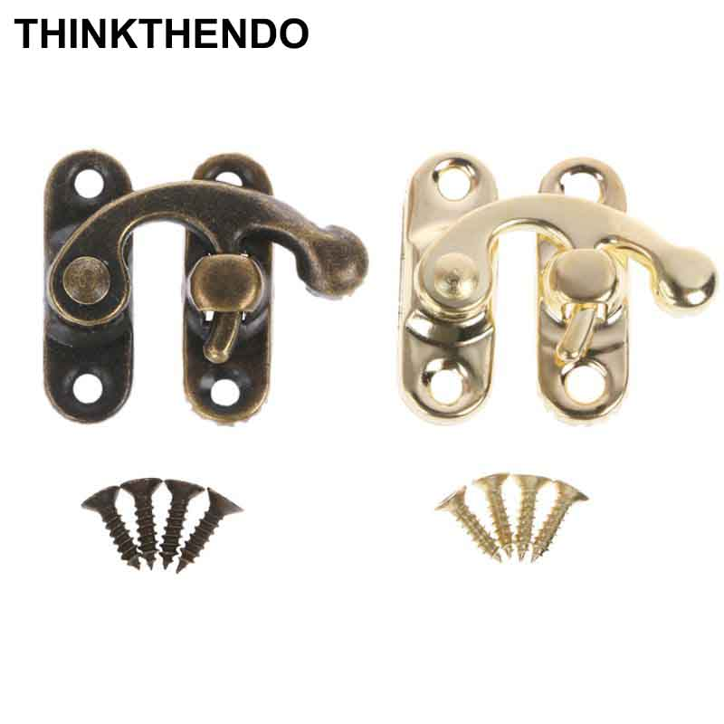 10 Pcs/ Set Small Antique Metal Lock Decorative Hasps Hook Gift Wooden Jewelry Box Padlock With Screws For Furniture Hardware