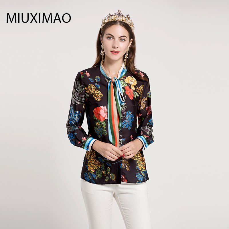 Quality Women Blouse amp;autumn Shirt Printed Top Fashion Flower Runway Vintage Bow Sleeve Spring Long High Women's 2017 Casual wxT57HCtq